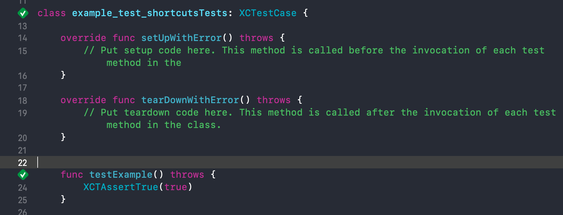 The cursor is outside a test case, but within the scope of XCTestCase class