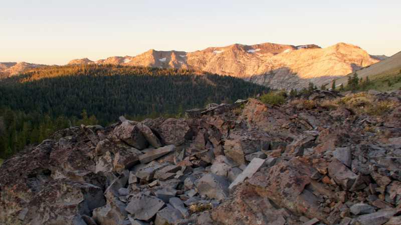 Morning sun hitting a rocky ridge