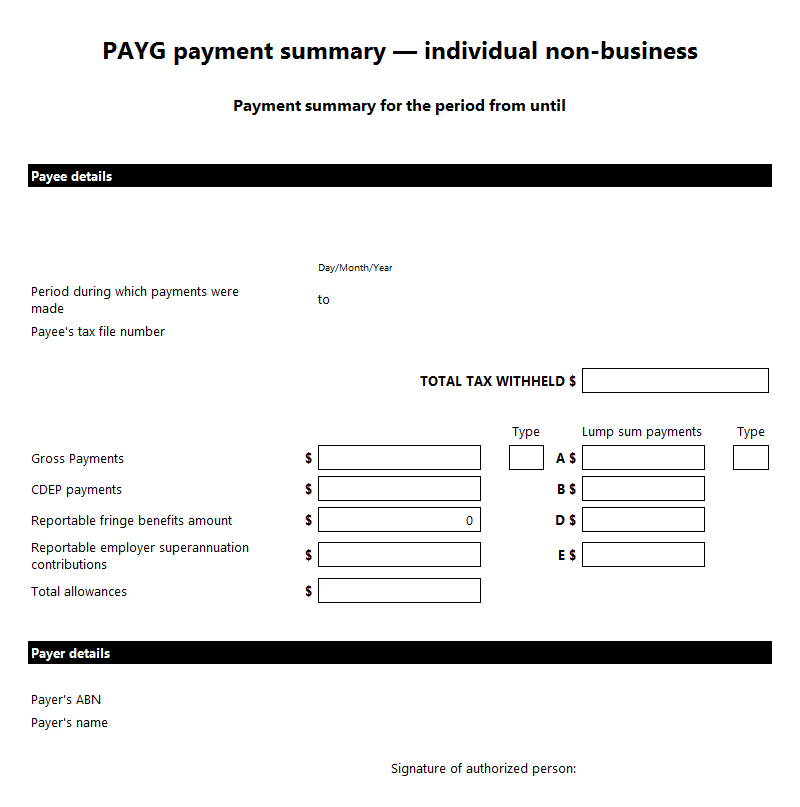 PAYG payment summary — individual non-business