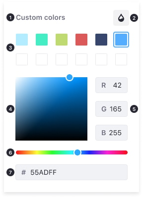 Color picker with 7 points to describe the different elements. Explained below.