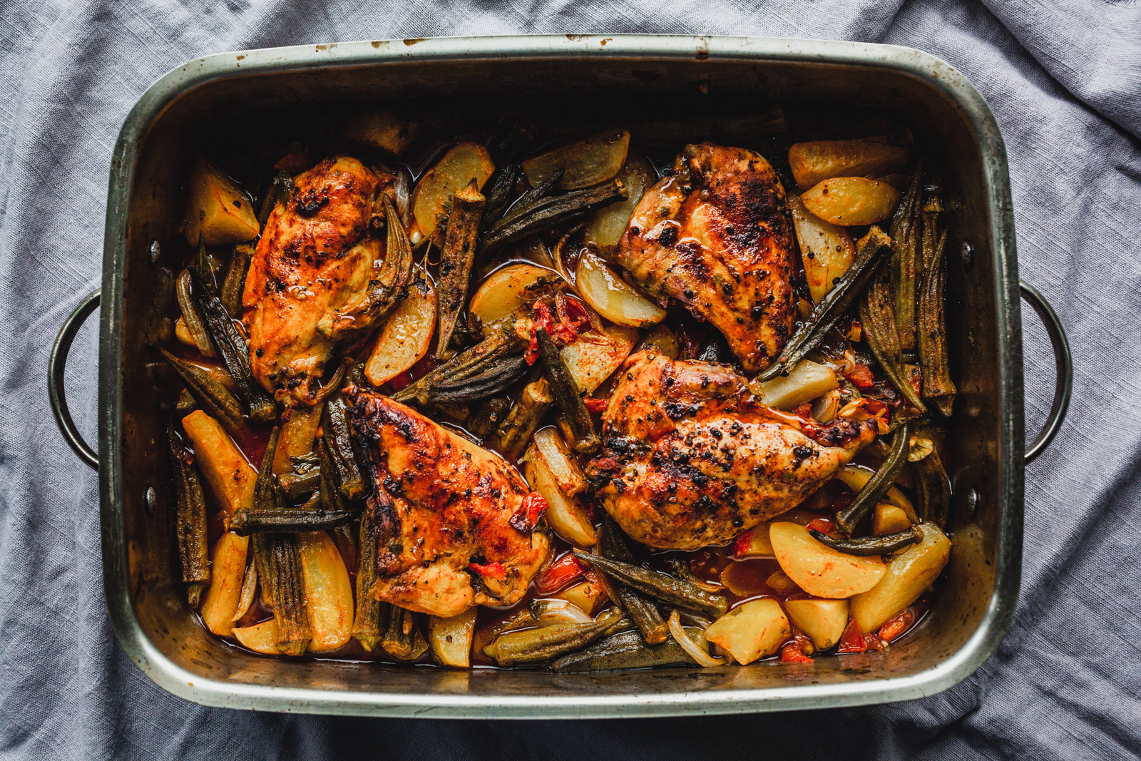 Roasted Balsamic Chicken And Potatoes With Okra