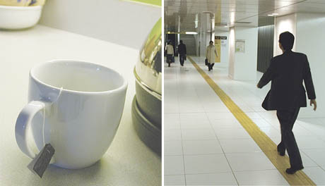 A diptych: a tea mug with the bag's string wrapped around its handle. A man walking on a narrow stripe pattern on the floor.