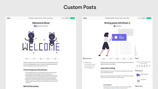 Joben Ghost Theme custom post layouts