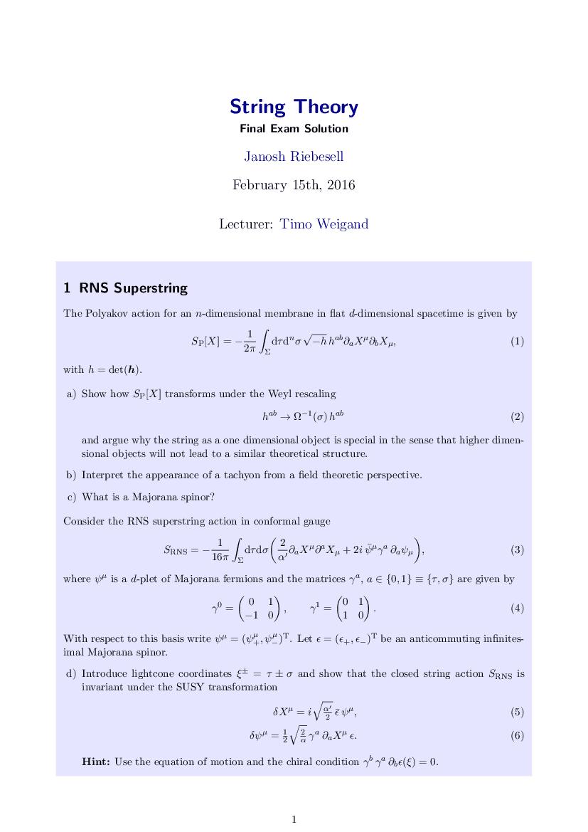 Exam solution