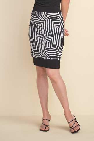 Joseph Ribkoff Flattering Lined Geo-Print Skirt