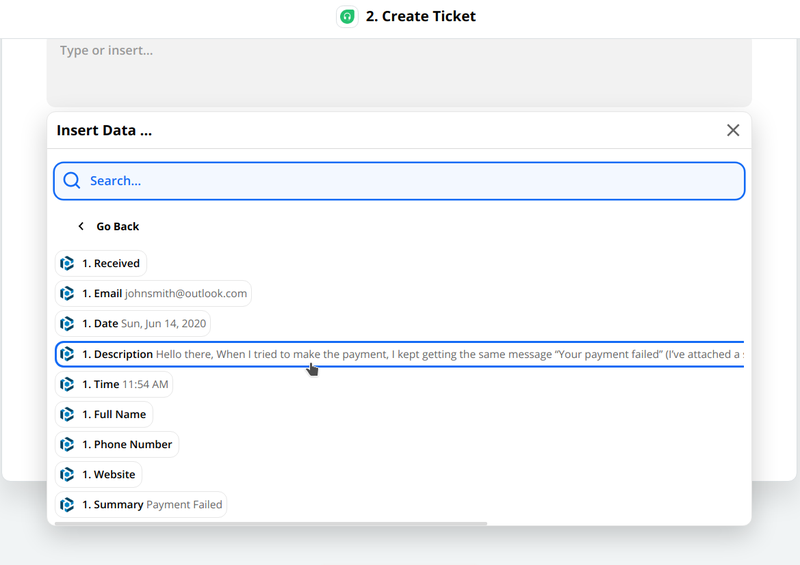 Use the parsed data to customize the ticket