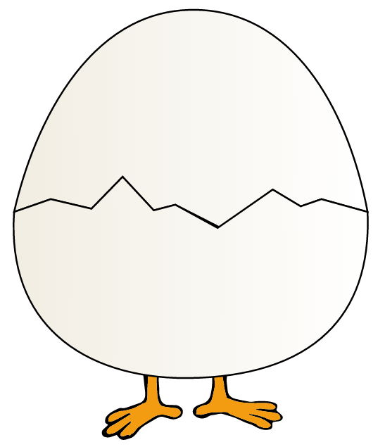 The SVG image we will be using contains a bird covered by an egg made of two shells.