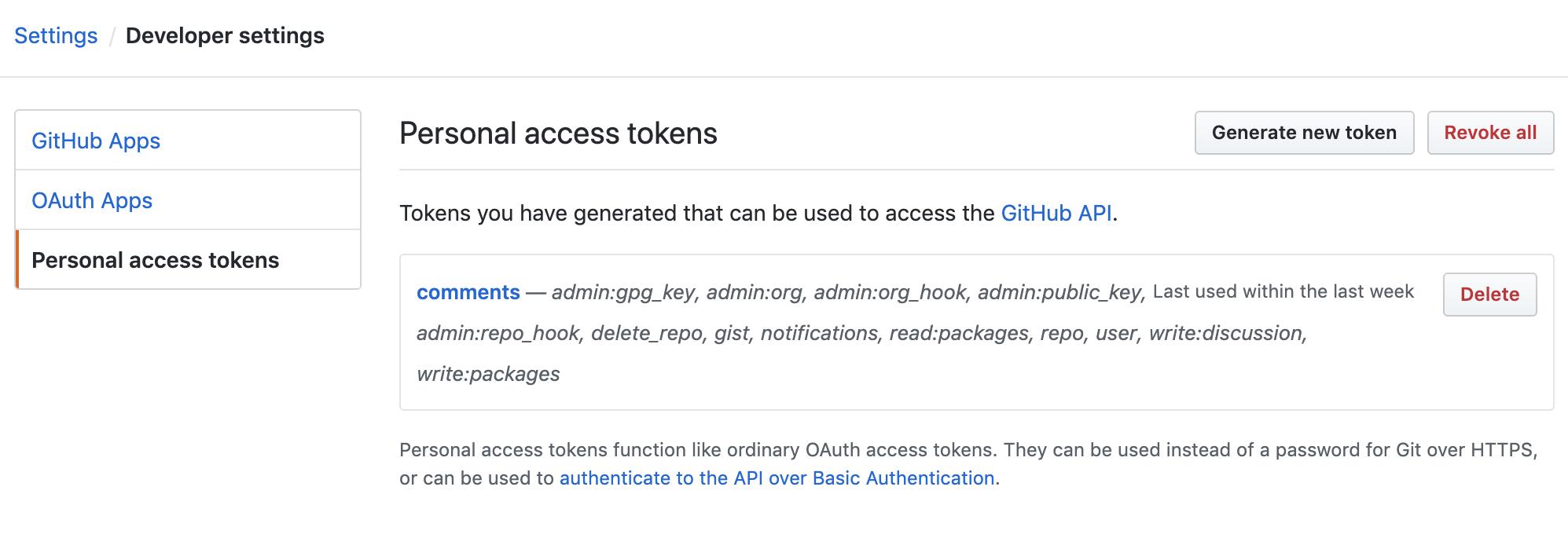 GitHub developer settings