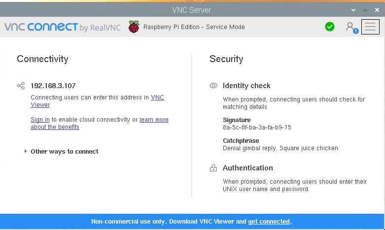 Screenshot of RealVNC (VNCConnect) server info screen including dotted quad (ipv4) address