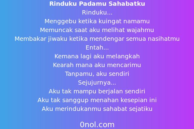 Puisi Rindu Sahabat