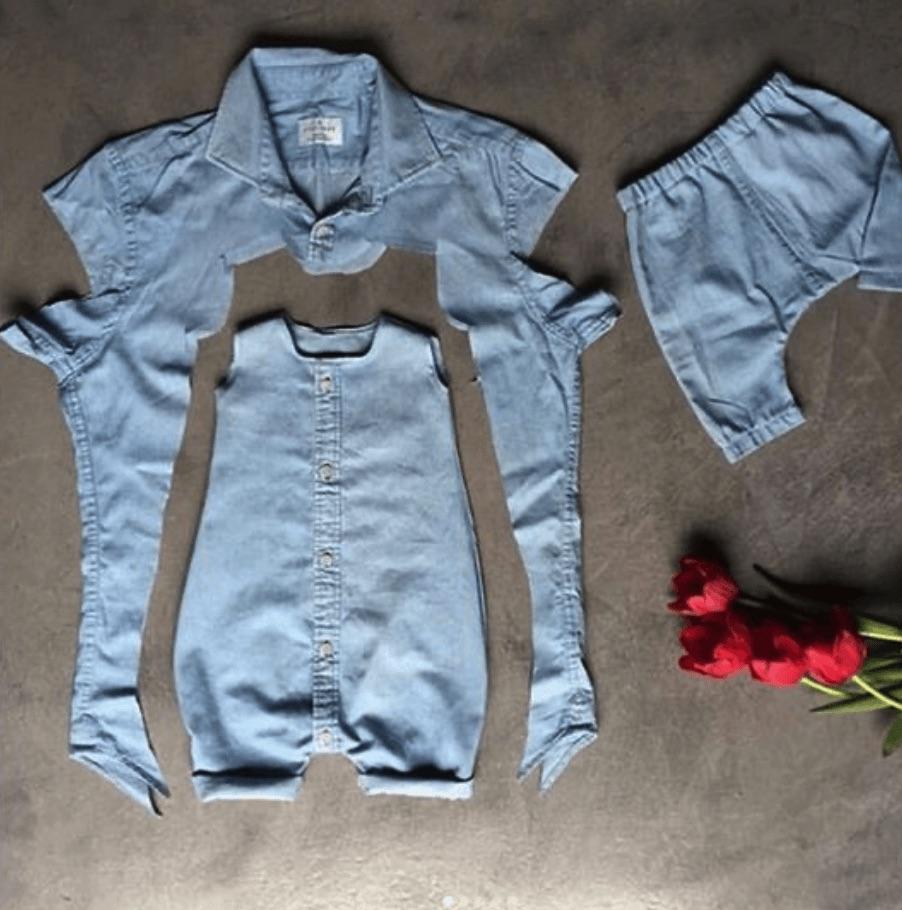 Combinaison bébé coupée dans une chemise