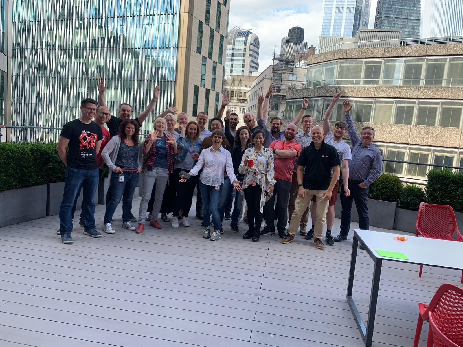 Some of the EMEA Labs Team on the balcony of Red Hat's London Office.