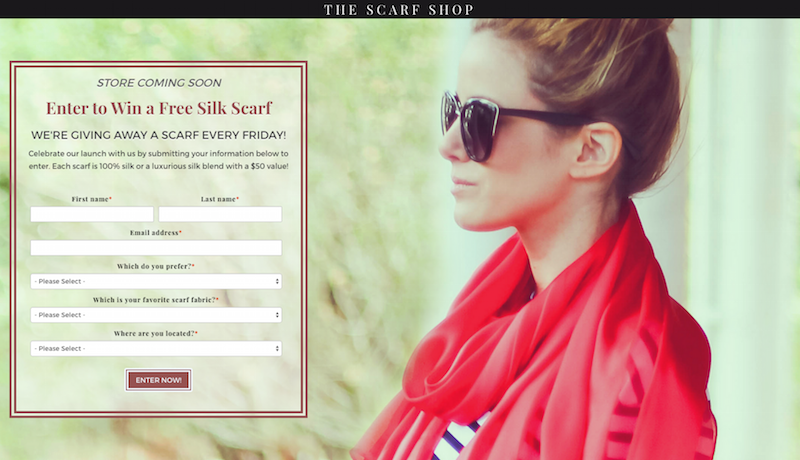 The Scarf Shop landing page