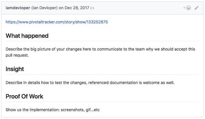 A complete description field for a pull request should contain all these pieces of information — Having a pull request template can help streamline this process ([How-to for Github](https://help.github.com/articles/creating-a-pull-request-template-for-your-repository/))
