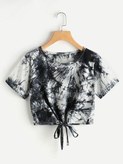 T-shirt crop-top tie and dye