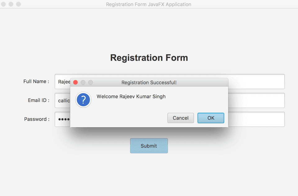 JavaFX layout registration form confirmation example