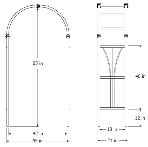 Dublin Arbor wireframe dimensions