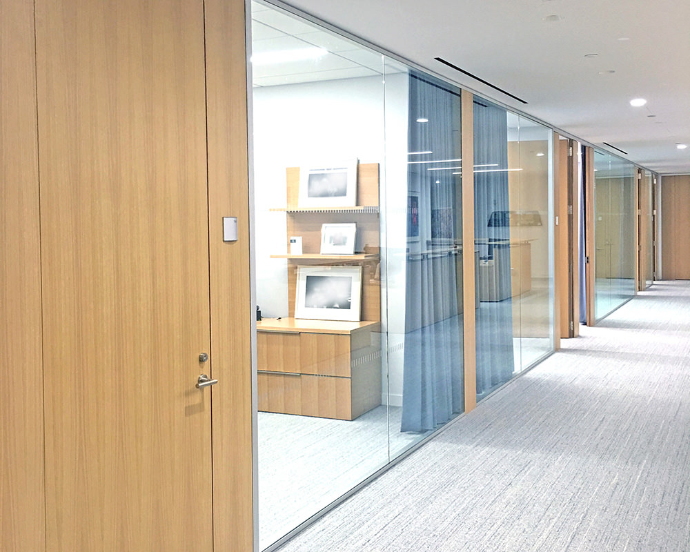 Another Office Hallway with Wooden Doors and Glass Walls