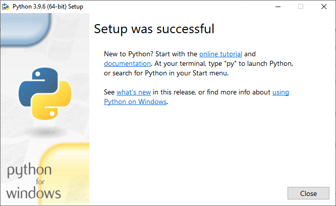 """A window with the heading """"Setup was successful"""" and a 'close' button in the bottom right."""