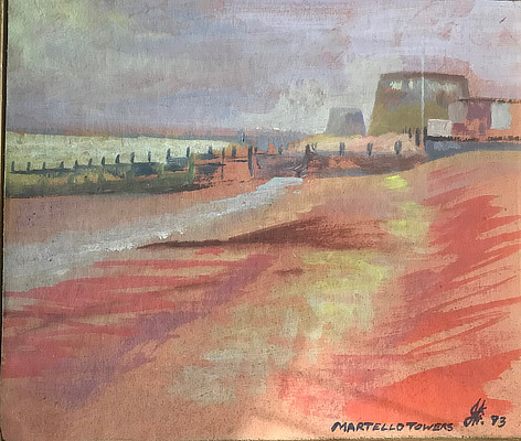 painting of two Martello Towers lining the coastline