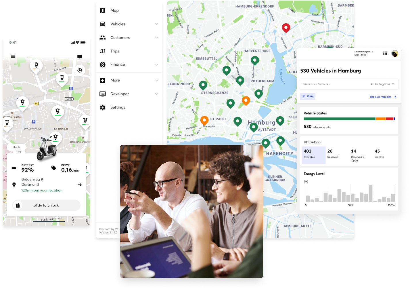 A showcase of Wunder app screenshots plus an image of a working place where workers are engaged in a discussion.