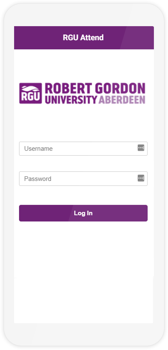 The login page of the Attendr mobile demo