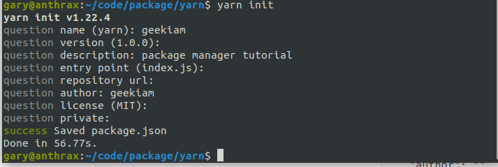 yarn init questionaire
