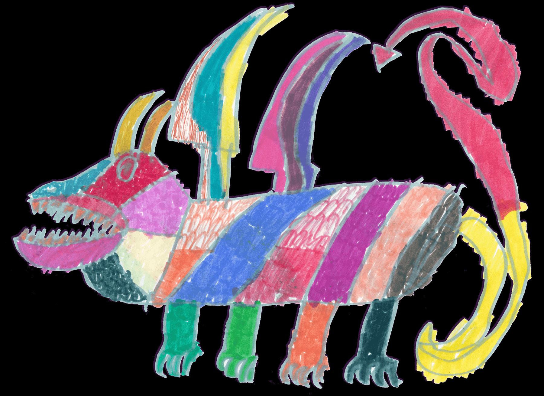 Marker drawing of a Technicolor Dragon by Manès Weiner-Slanar