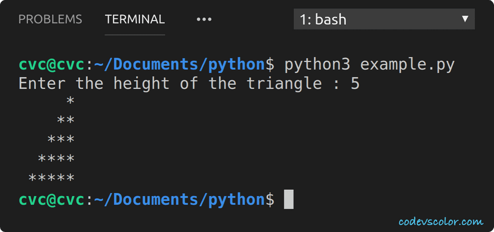 python print triangle using star