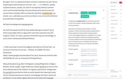 Screenshot how Grammarly suggests a writing improvement