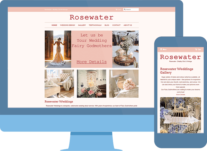Rosewater on large desktop and small mobile devices preview