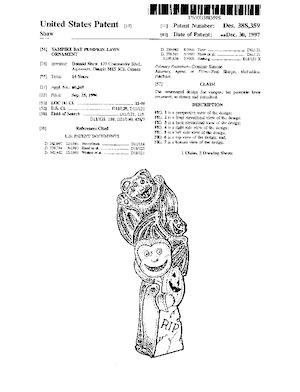 Integrated Plastics Vampire Bat Pumpkin Lawn Ornament Patent #D388359.pdf preview