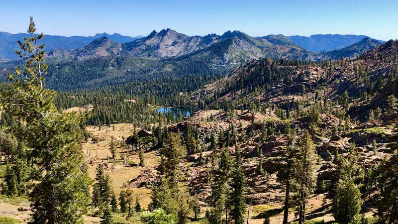 Rugged mountains in Trinity Alps Wilderness