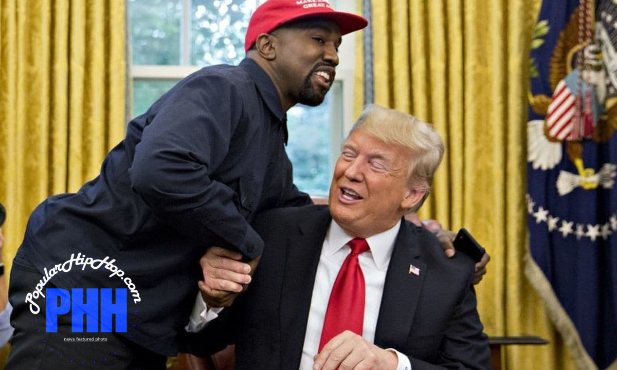 Kanye West shaking Donald Trump's hand in White House