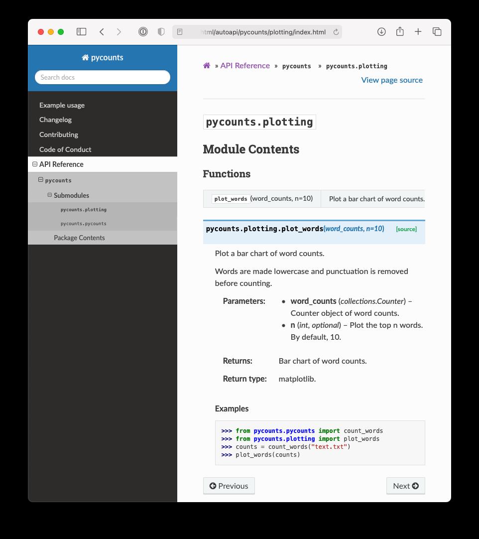 Documentation for the `pycounts` plotting module.
