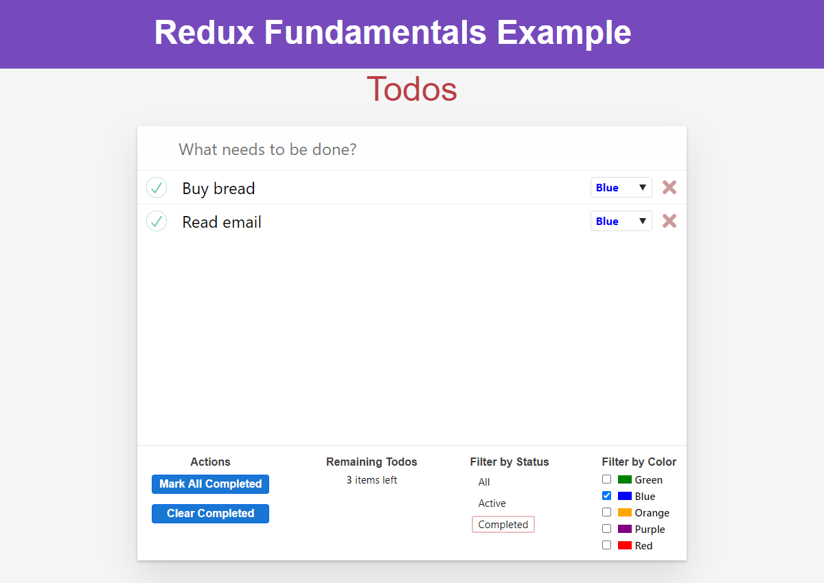 Todo app - status and color filters