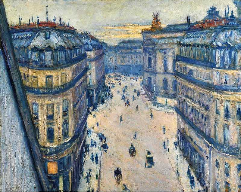 'Halévy Street, View from the Sixth Floor' (La Rue Halévy, Vue Du Sixième Étage) by Gustave Caillebotte, 1878, oil on canvas, 23.5 by 28.75 in.; 59.5 by 73 cm