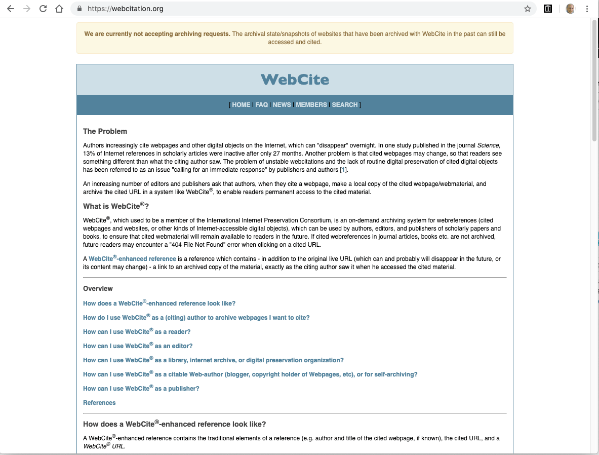 Start page of the WebCite service, proclaiming that new archiving request are currently not feasible anymore.