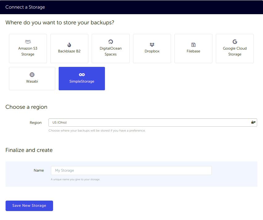 Connect SimpleStorage to SimpleBackups