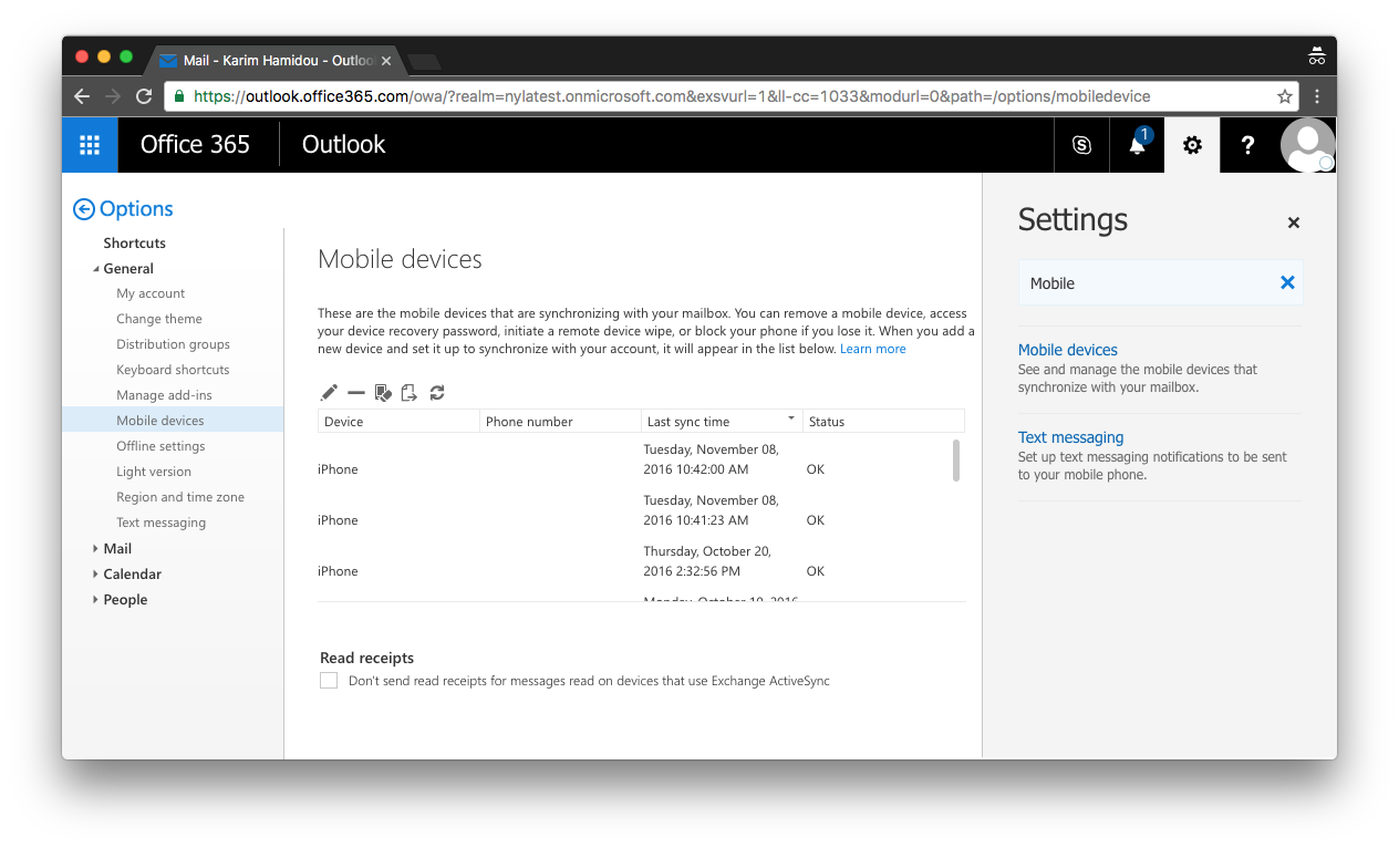 Outlook mobile device settings