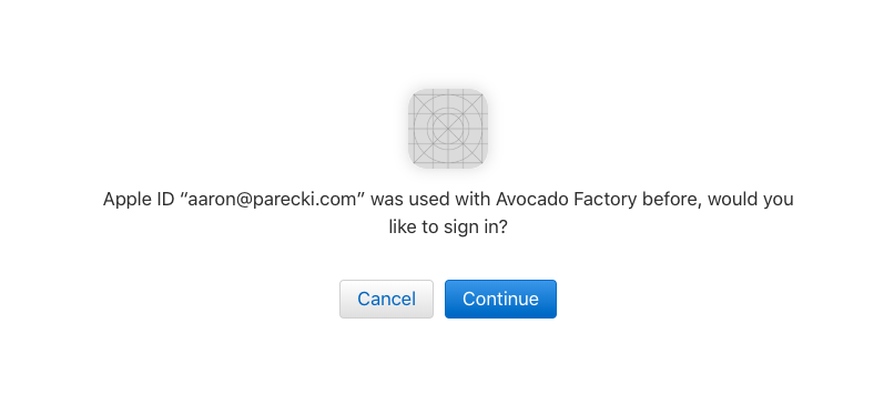 Dialog asking the user to confirm signing in to this app