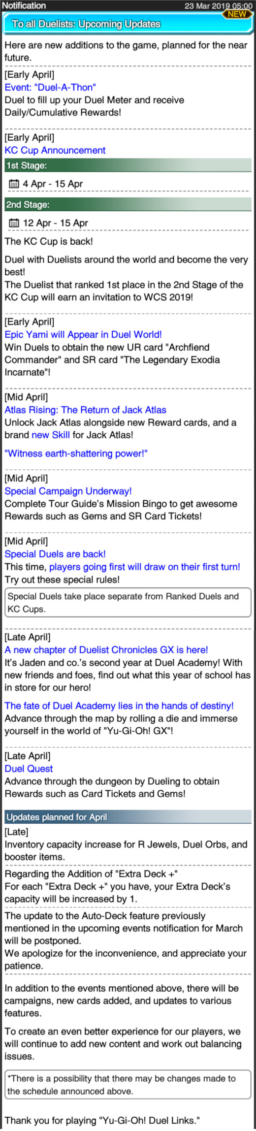 Upcoming Events and Updates | Duel Links Meta