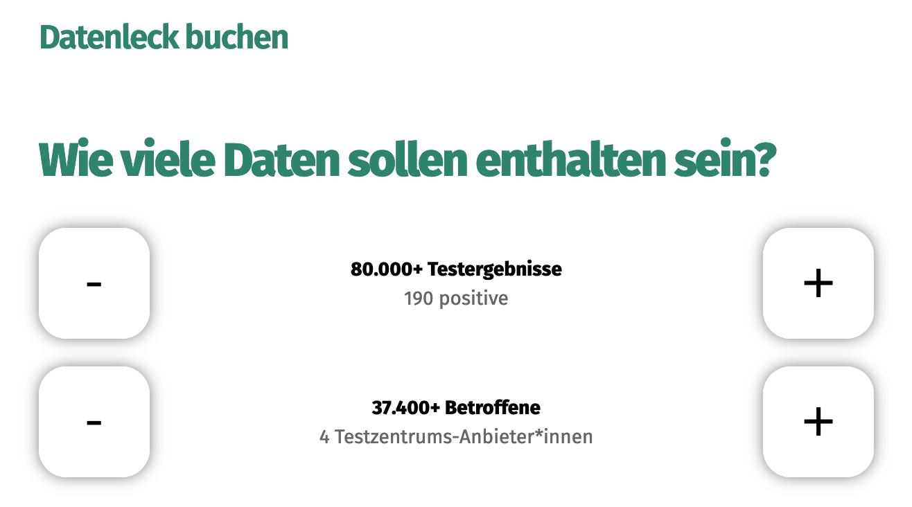 Modifizierter Screenshot der Testbuchungsseite, mit dem Text: 'Datenleck buchen - Wie viele Daten sollen enthalten sein?'