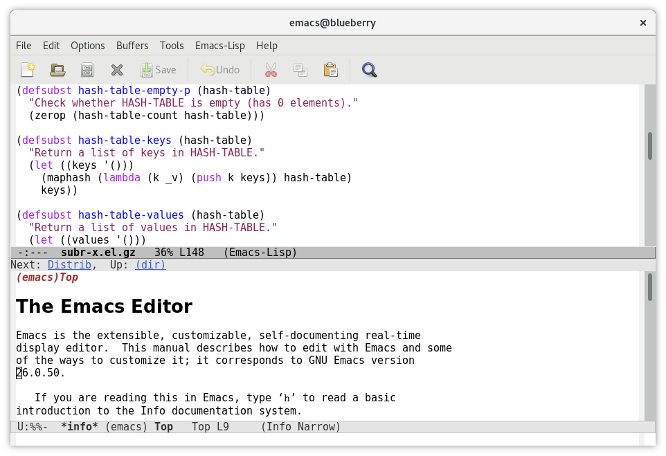 Emacs mặc định
