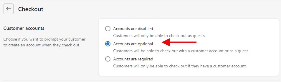 Customer accounts settings