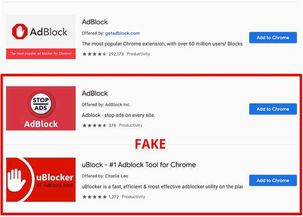 fake adblock extensions chrome