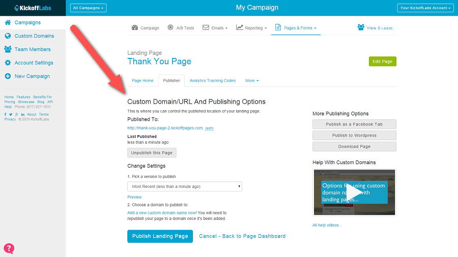 Publish Thank You Page
