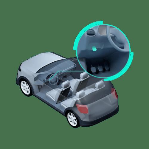 Diagrama mostrando o dispositivo OBD sendo conectado embaixo do volante do carro