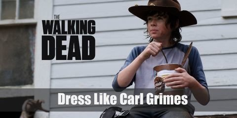 Carl Grimes can be seen wearing undershirts, flannels, and jeans. He also loves donning on his dad's deputy sheriff hat