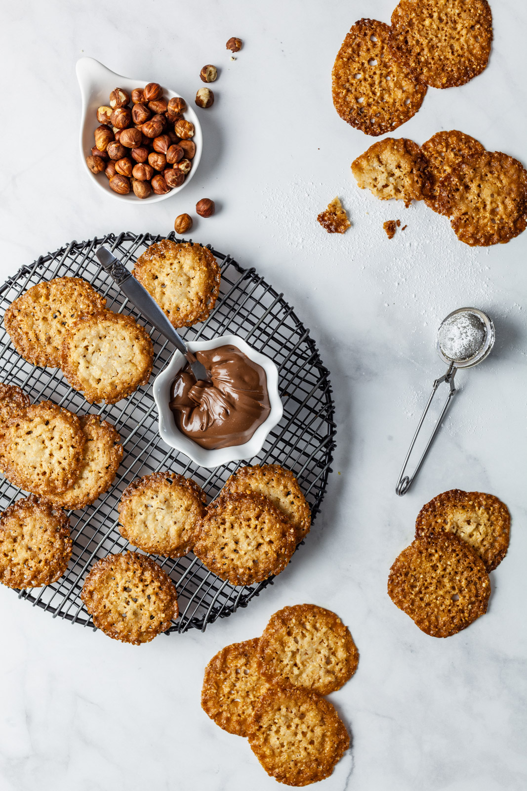 Chocolate Hazelnut Florentine Cookies (Lace Cookies)